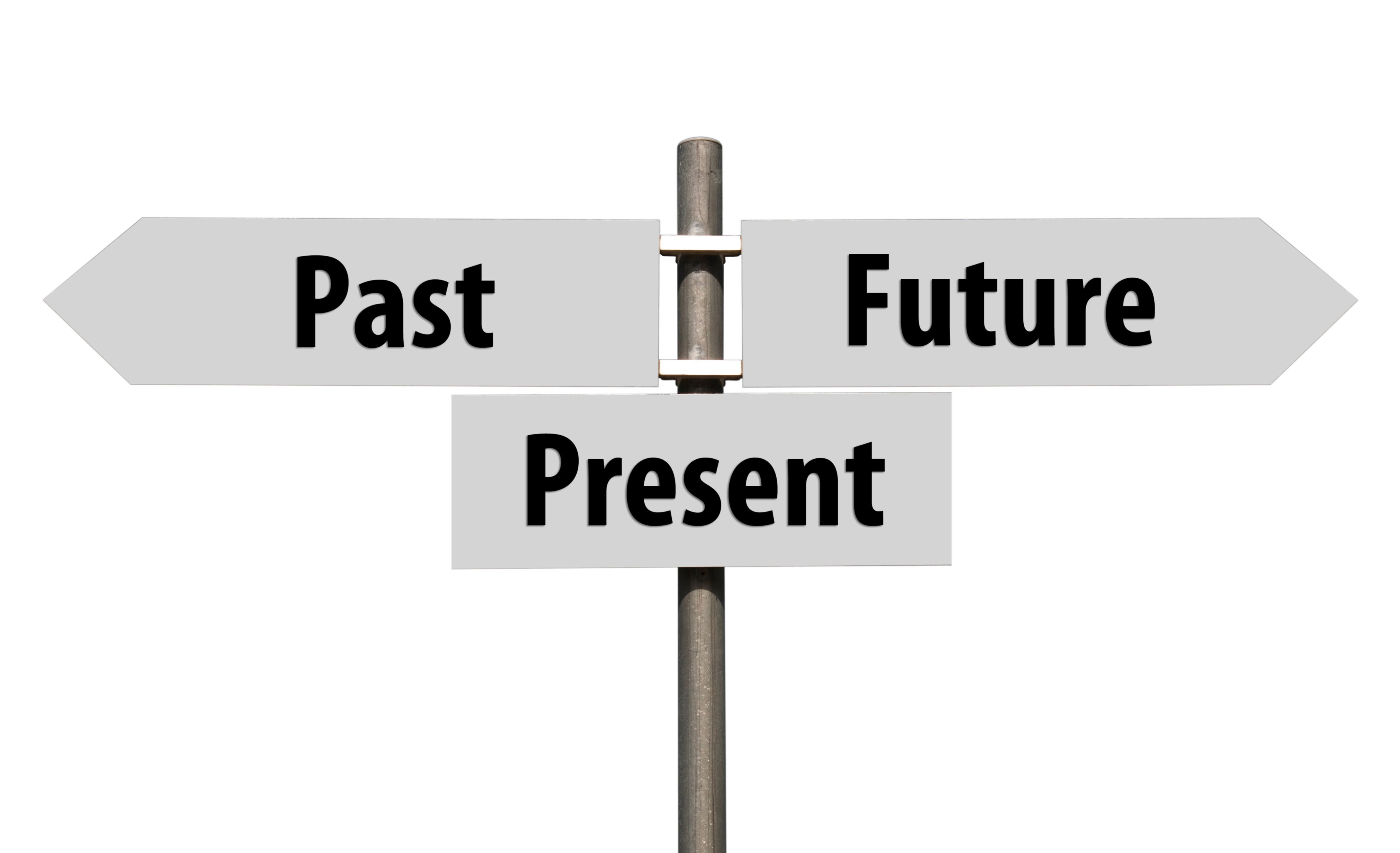 your career ways to identify and evolve industry trends conceptual picture of a signpost past present and future isolated on white background